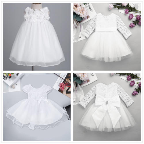 Flower Girl Princess Lace Bridesmaid Wedding Dress Gown Tulle Tutu for Baby Kids