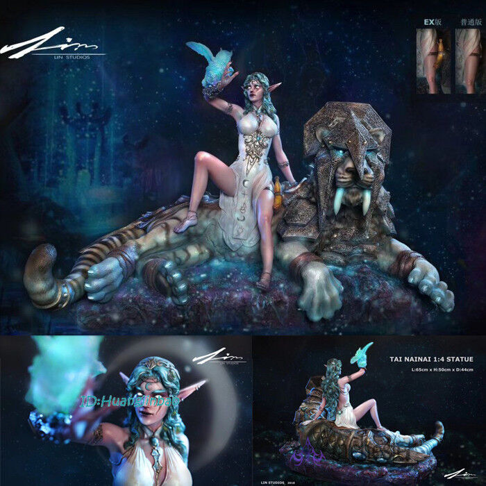 A LIN WOW Tyrande Whisperwind Resin Figurine Painted Sculpture Night Elf Statue