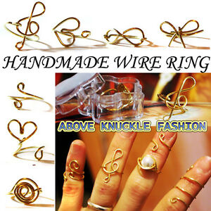 Above-Knuckle-Wire-Ring-Golden-Heart-Treble-Clef-bowknot-infinity-Midi-Ring