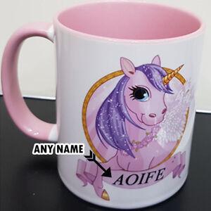 Personalised-Unicorn-Mug-Nom-Rose-Poignee-et-a-l-039-interieur-Fabuleux-Cadeau-Fantaisie