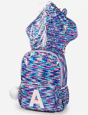 Justice Hooded Flip Sequin Unicorn Initial V Backpack Purple New!
