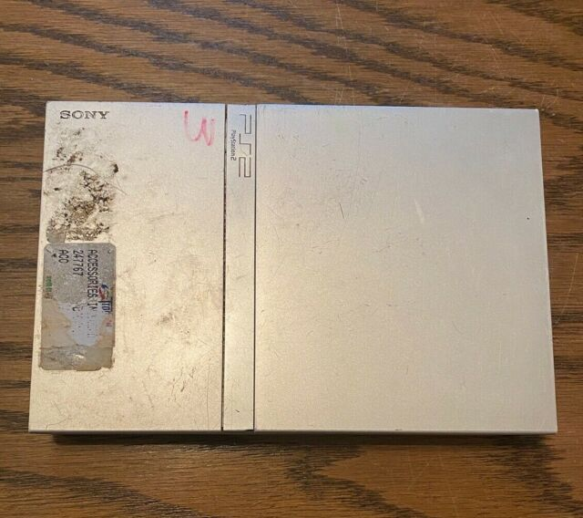 Sony SCPH-77001 PlayStation 2 Slim Console Silver Parts or Repair As Is