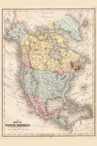 North-America-1867-Vintage-Antique-Style-Map-Mural-inch-Poster-36x54-inch