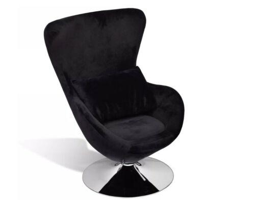 Retro Black Egg Chair Swivel Jacobsen Style Chair Small Velvet Relax Armchair 7437014450454