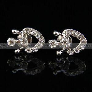 1 Pair Crystal Rhinestone Crown Earrings Women Silver Ear Stud Fashion Jewelry