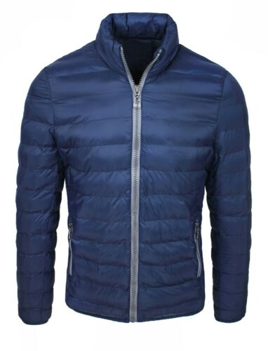 Jacke Daunenjacke Herren Blau Slim Fit Casual Jacke Jacke Gepolstert aus Feder
