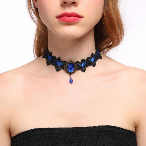 Boho Halloween Women Lace Diamond Rhinestone Choker Collar Necklace Pendant LH