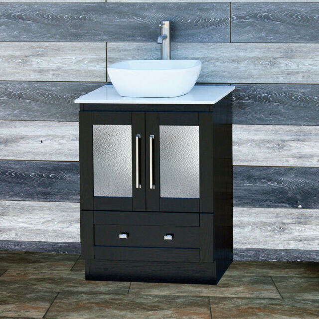 Bathroom Black Vanity 24 Inch Cabinet