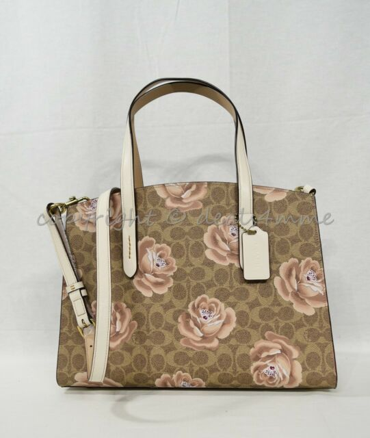 Coach 31667 Charlie Carryall In Signature Rose Print Satchel/Shoulder Bag in Tan