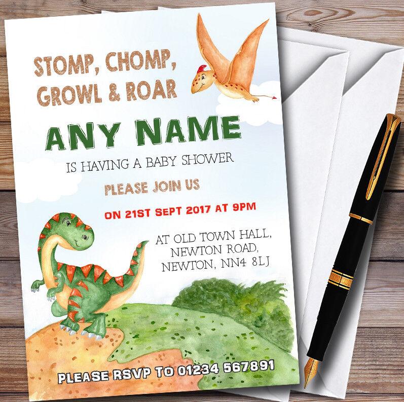 Watercolour Dinosaur Personalised Baby Shower Invitations