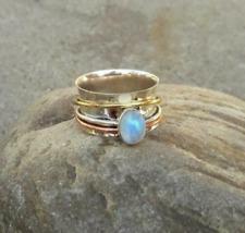 Moonstone Solid 925 Sterling Silver Spinner Ring Mediation Statement Ring SR308