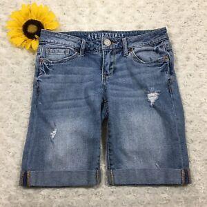 Aeropostale-Womens-Jean-Bermuda-Shorts-Size-00-Stretch-Cuffed-Blue-Denim-fr3393
