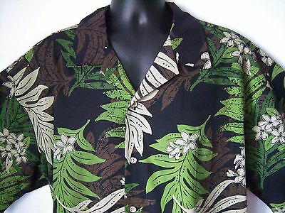 Men's 4XL Hawaii Shirt Black w Tan Green Brown Leaves Button-front Short Sl