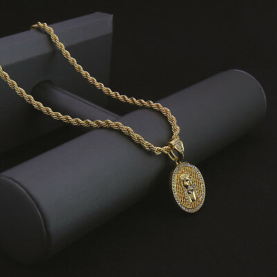 Mens 14k Gold Plated Hip Hop Round Net Jesus Pendant 24 Rope Chain Necklace Np Ebay