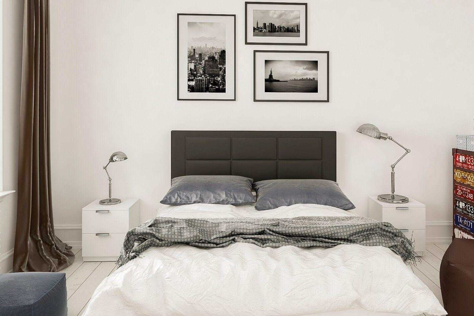 HOGAR24 ES -Conjunto cabecero tapizado Negro + 2 mesitas de Noche Color...