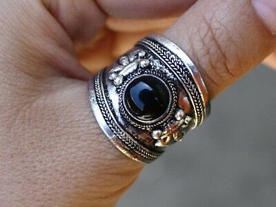 3b63d8cd556b0 Large Adjustable Tibetan Onyx Gemstone Dorje Amulet Ring Thumb Ring ...