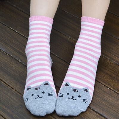 Women Cute 3D Cartoon Animals Striped Socks Cat Footprints Cotton Socks Floor