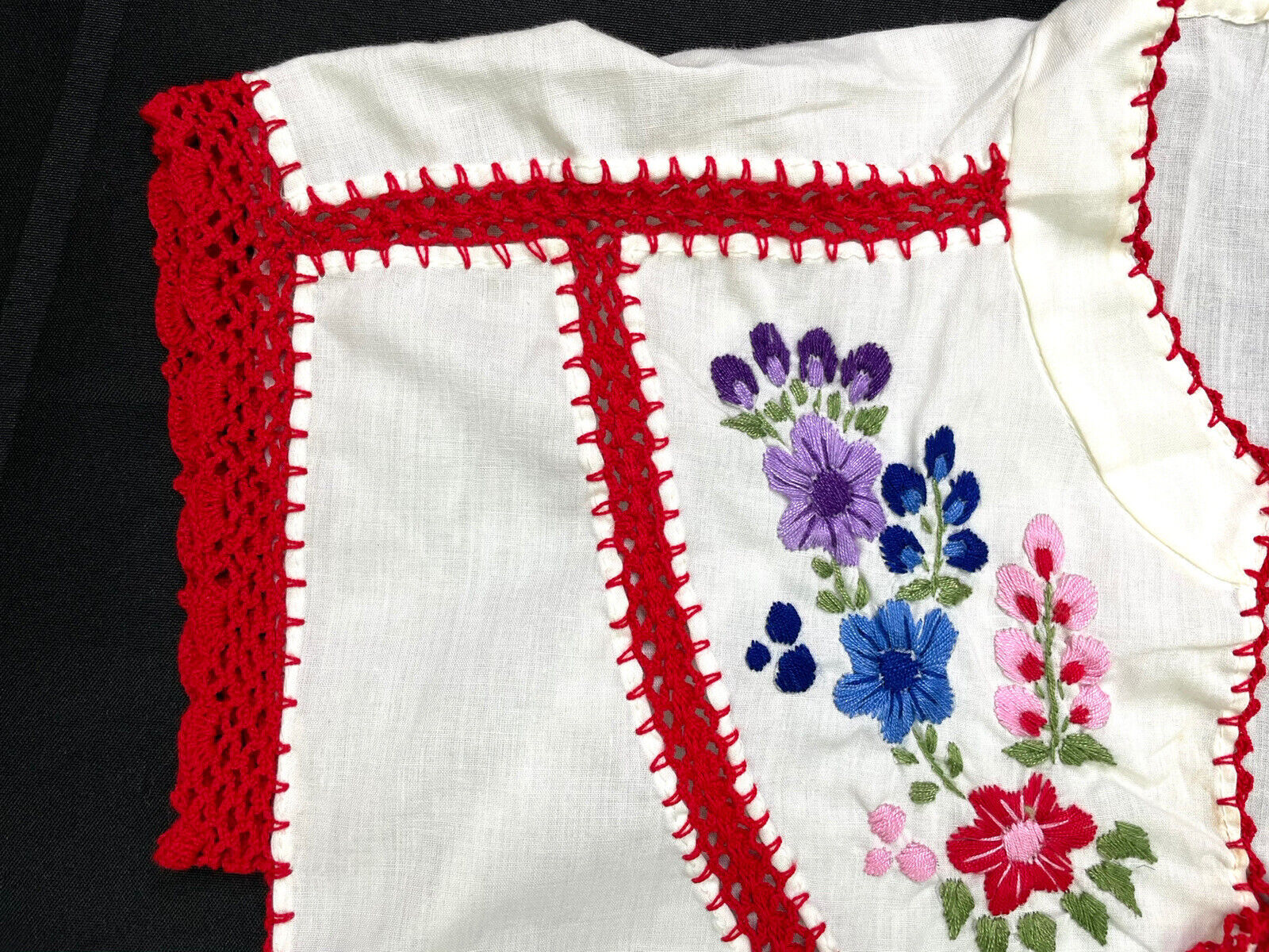 Vintage Ethnic Hungarian Hand Embroidered Floral … - image 6