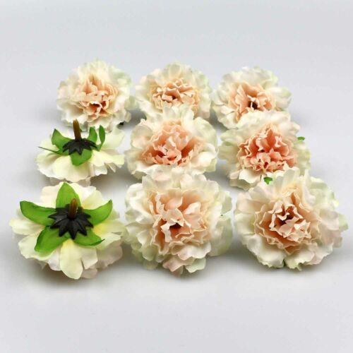 10//100X 6cm Silk Carnation Peony Artificial Fake Flower Heads Bulk Wedding Decor