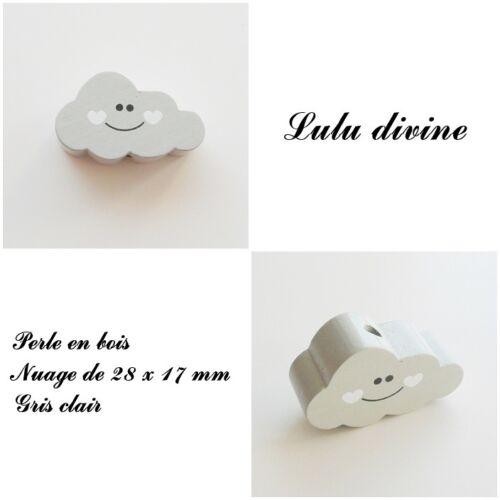 Gris clair Perle plate Nuage sourire Perle en bois de 28 x 17 mm