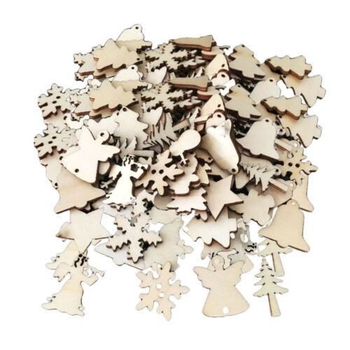 100x Blank Wooden Tag Christmas Tree Ornament for Wood Craft Xmas Decoration