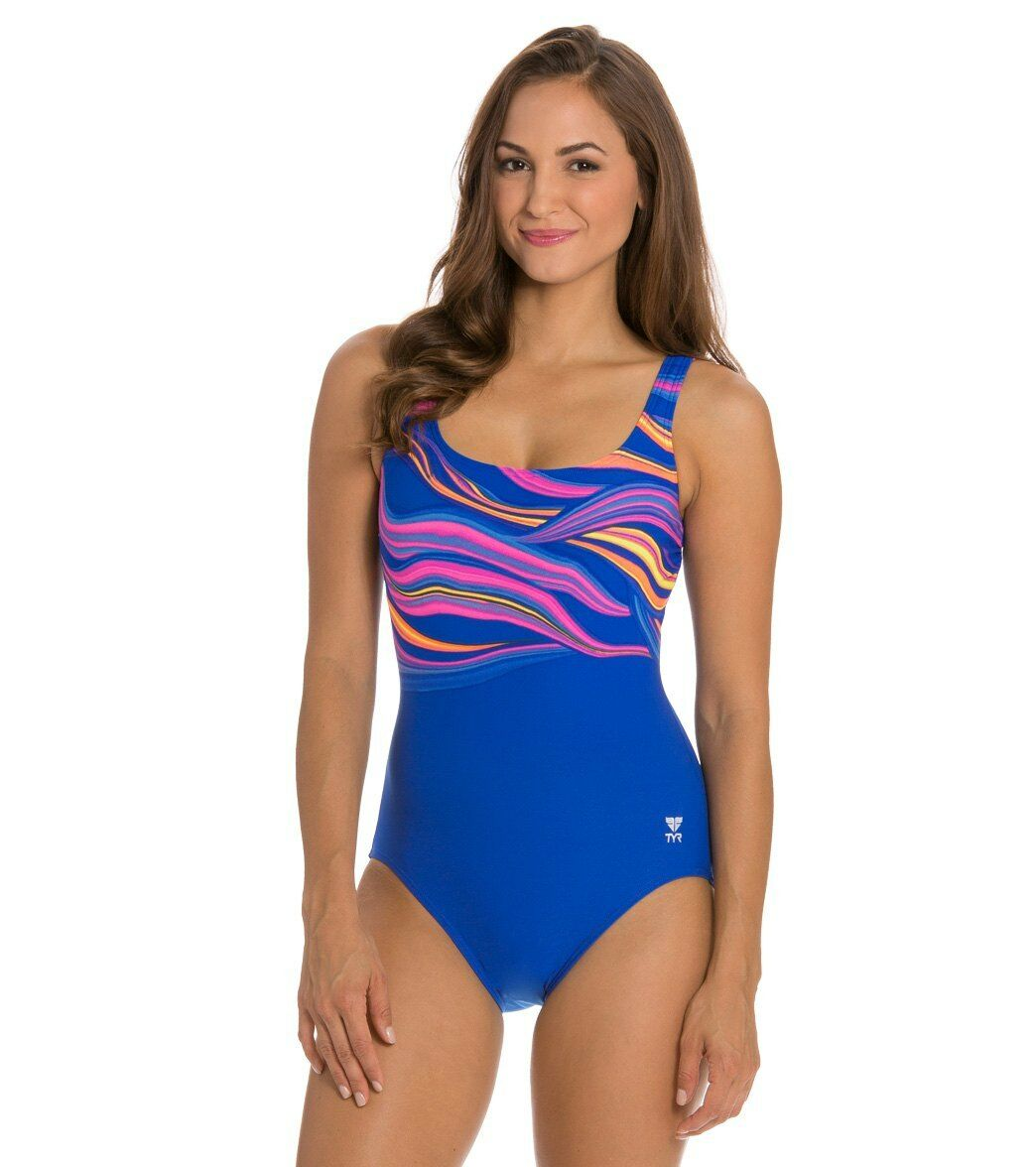 Womens TYR Fantasia Controlfit Swimsuit Size 18 NWT bluee Durafast Fitness