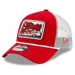 Bill-Elliott-New-Era-9FORTY-A-Frame-Trucker-Mesh-Adjustable-Snapback-Hat-Red