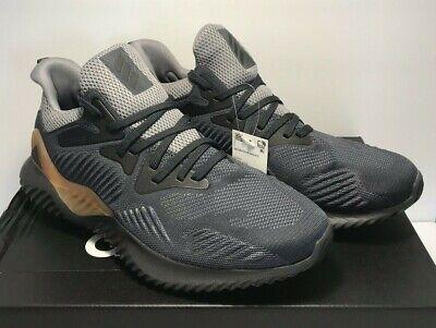 Adidas Mens SZ 11.5 Alphabounce Beyond M Lillard Grey Brown Running Shoes CG4762