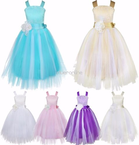 Mädchen Kinder Lang Blumen Prinzessin Kleid Festkleid Hochzeit Party Sommerkleid