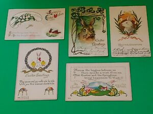 Lot-of-5-Old-Antique-Vintage-Postcards-Easter-Greetings-BunnyRabbits-Chicks-Eggs