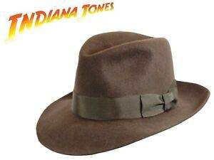 Indiana-Jones-Chapeau-Marron-100-Laine-Feutre-Fedora-Chapeau-Mou