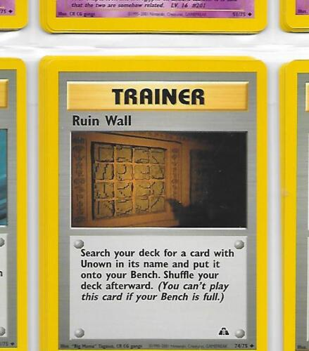 Neo Discovery 74//75 NM = Buy more and save! RUIN WALL Trainer Pokemon