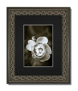 11x14 Matte Black Frame with Glass /& White//Black Mat for 8.5x11