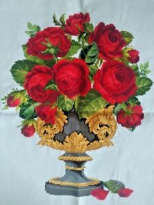 """New Completed finished cross stitch needlepoint/""""Silver Rose Cup/""""home decor gift"""
