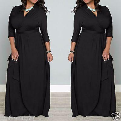 Plus Size LONG SLEEVE SOLID BLACK MAXI FAUX WRAP DRESS L.A.Made 1X 2X 3X