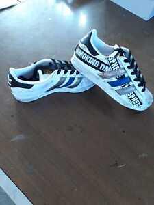 Dettagli su scarpe adidas super star personalizzata con scritte e strisce colorate