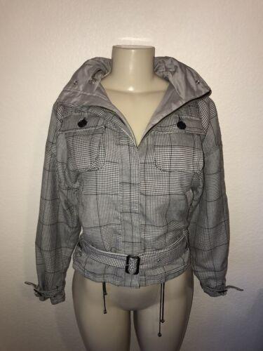 Women's Zip Coat Mango Hvid Full Hoodie Checked Mng Xs Sort Jacket Reversible vB5rq65w