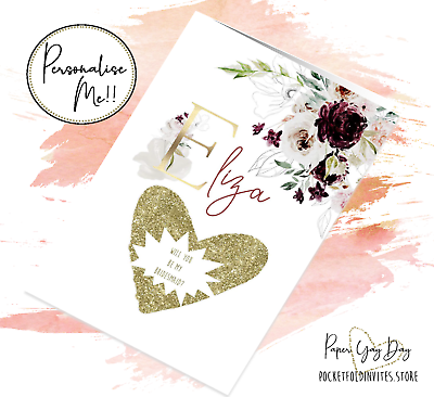 Personalised Be My Bridesmaid Proposal Card Scratch /& Reveal Hidden Message