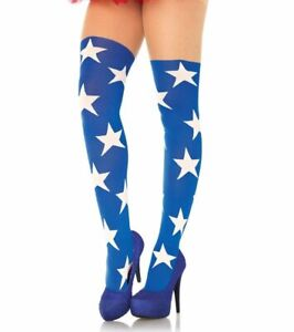Leg Avenue Superstar Opaque Tights with Sheer Thigh Hosiery Stockings Stars O/S
