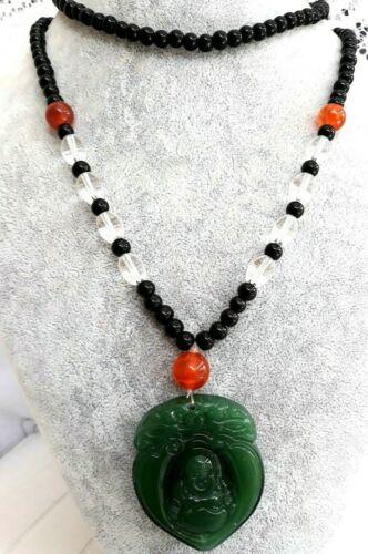 Collier Bouddha,Pierres Aventurine,Onyx,Quartz Blanc et Perles couleurOcreN°2387
