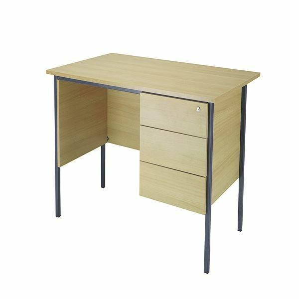 Jemini Ferrera Chêne 1200 mm quatre Jambe bureau avec trois tiroirs piédestal KF838374