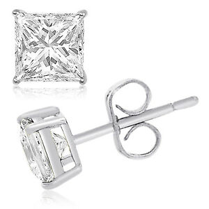 Image Is Loading Sterling Silver 925 Solid Square Princess Cut Cubic