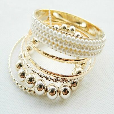 New jewelry hot fashion 1set golden pearl beads multilayer woman bangle bracelet