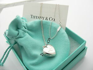 Tiffany co silver heart love locket necklace pendant charm 1825 image is loading tiffany amp co silver heart 034 love 034 aloadofball Images