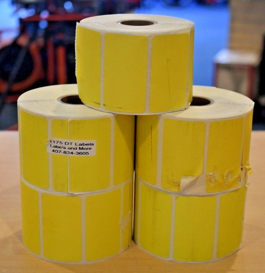 5 Rolls of (1175) 2.25  x 1.25  Direct Thermal Yellow Zebra Labels Tags