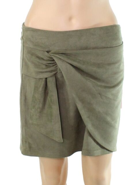 Fashion On Earth Womens Skirt Green US Large L Twist Front Faux Suede $38 399