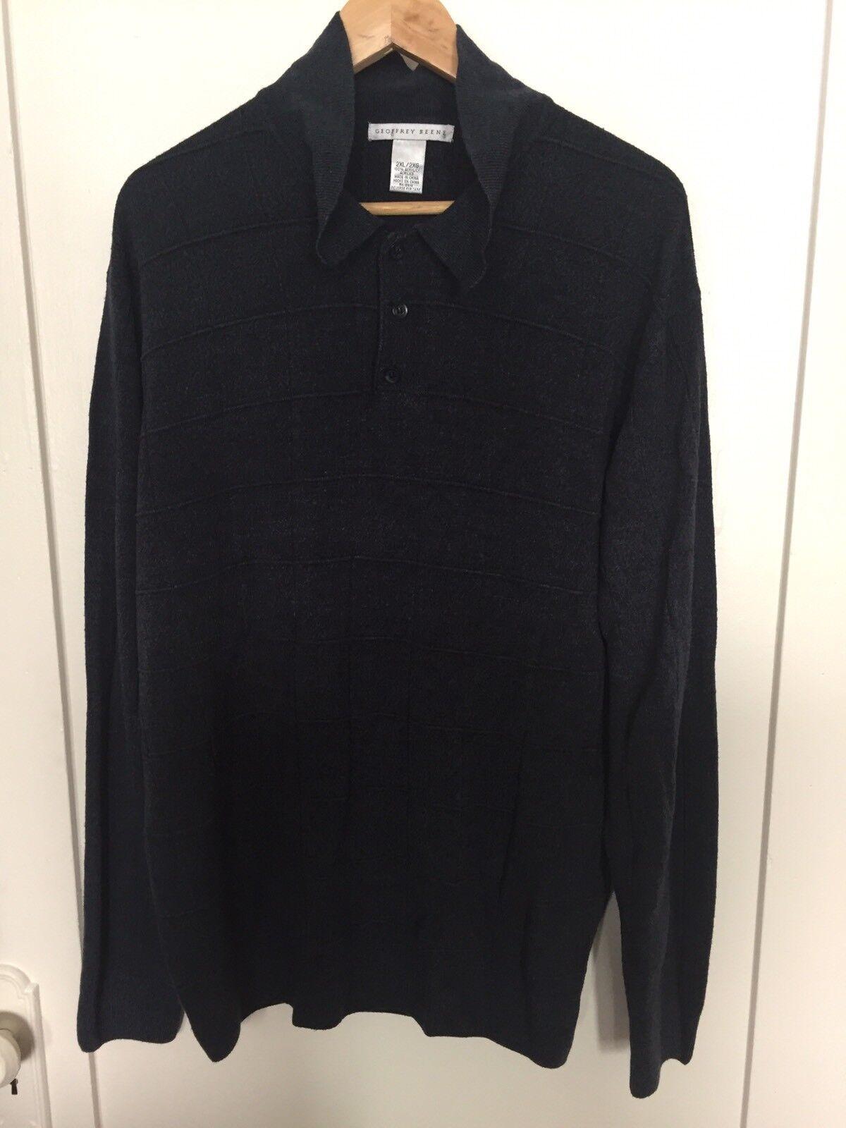 Geoffrey Beene Men's Light Sweater Navy bluee Polo Style Size 2XL- Super Soft