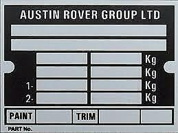 CLASSIC-MINI-039-AUSTIN-ROVER-GROUP-LIMITED-039-CHASSIS-PLATE-INCLUDING-STAMPING