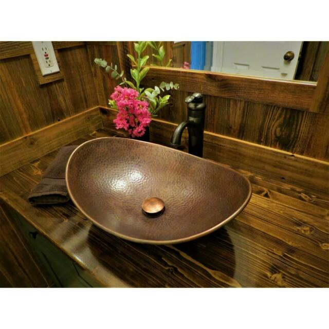 Copper Vessel Sink 19 Handmade Copper Farmhouse Countertop Vanity Hammered