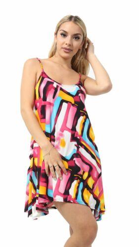 Ladies Strappy Sleeveless Plain /& Printed Cami Mini Dress Swing Skater Top 8-26